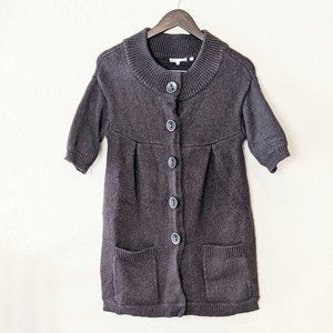 Vince. Brown Short Sleeve Button Sweater Large